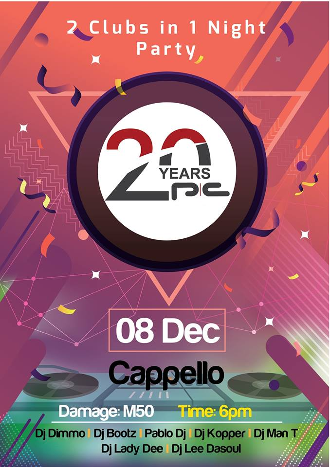 1 NIGHT 2 PARTIES – CAPPELLO AND PC FM 20 YEARS